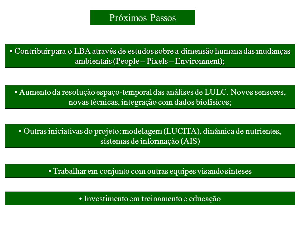 Contribuir para o LBA através de estudos sobre a dimensão humana das mudanças ambientais (People – Pixels – Environment);
