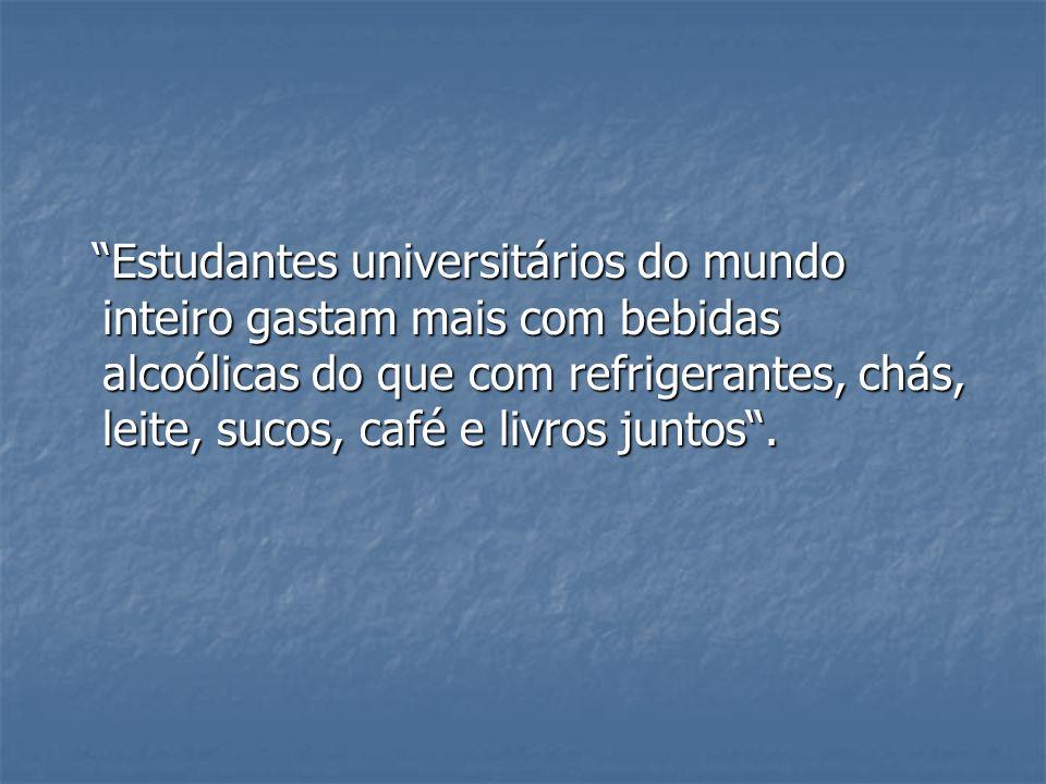 Estudantes universitários do mundo inteiro gastam mais com bebidas alcoólicas do que com refrigerantes, chás, leite, sucos, café e livros juntos .