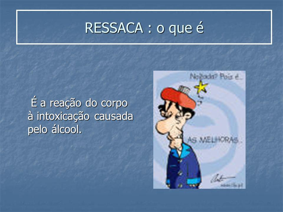 RESSACA : o que é É a reação do corpo à intoxicação causada pelo álcool.