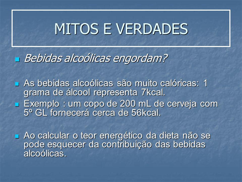 MITOS E VERDADES Bebidas alcoólicas engordam