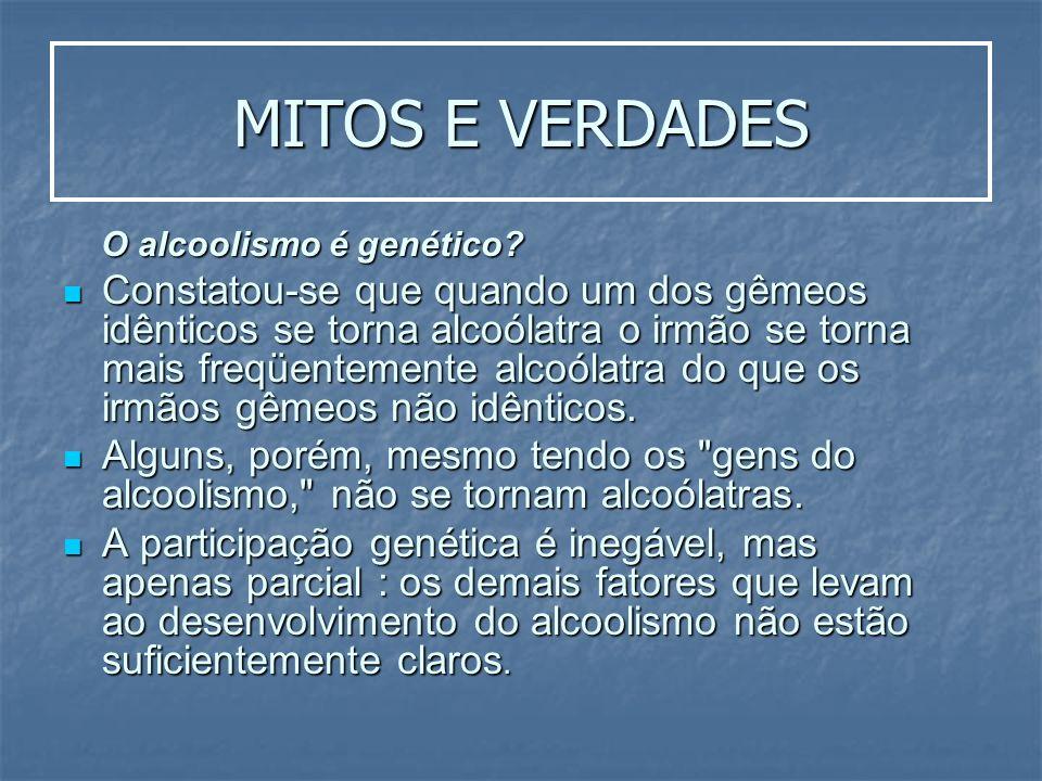 MITOS E VERDADES O alcoolismo é genético