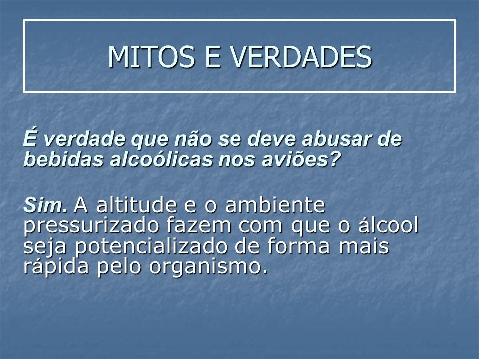MITOS E VERDADES É verdade que não se deve abusar de bebidas alcoólicas nos aviões