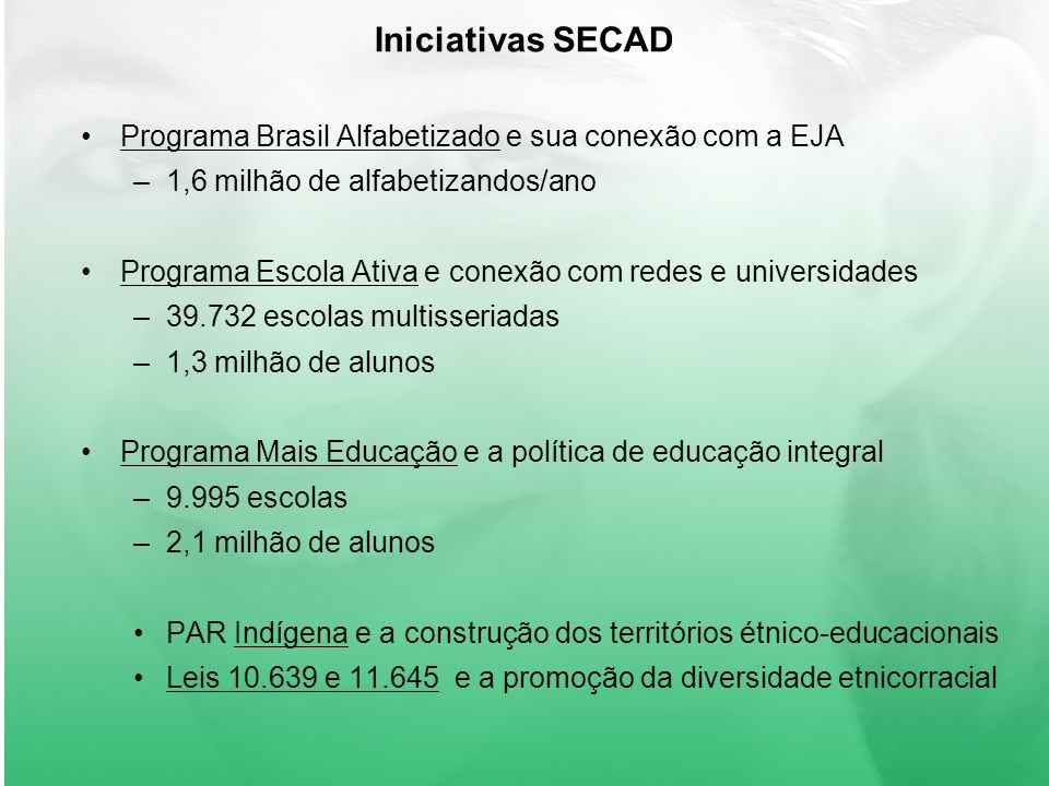 Iniciativas SECAD Programa Brasil Alfabetizado e sua conexão com a EJA