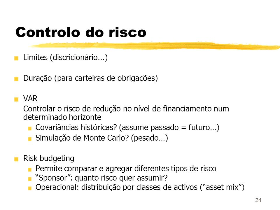 Controlo do risco Limites (discricionário...)