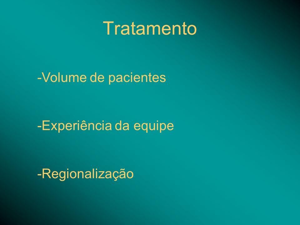 Tratamento Volume de pacientes Experiência da equipe Regionalização