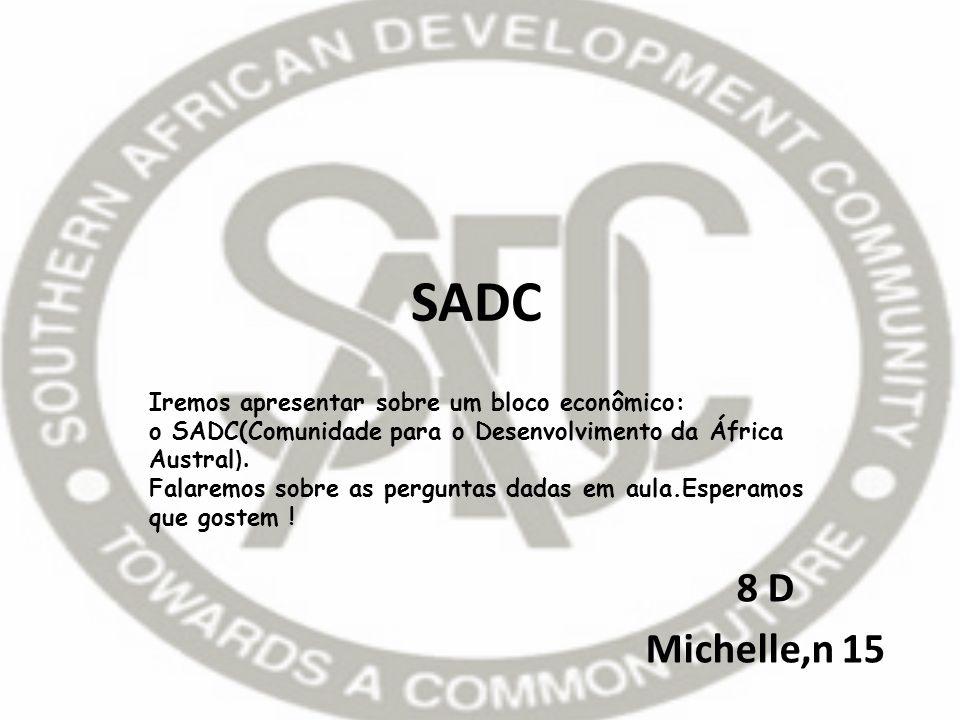 SADC 8 D Michelle,n 15 Iremos apresentar sobre um bloco econômico: