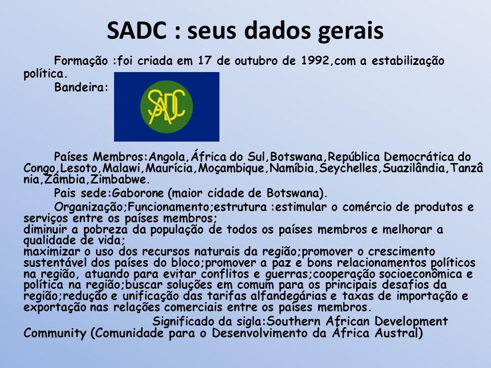 SADC : seus dados gerais