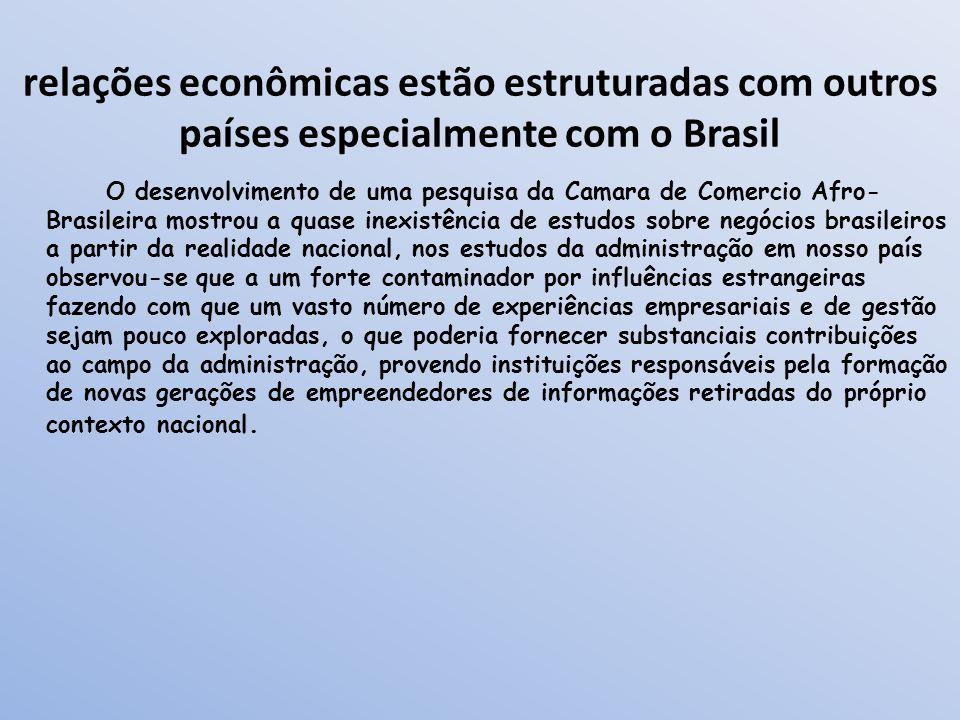 relações econômicas estão estruturadas com outros países especialmente com o Brasil