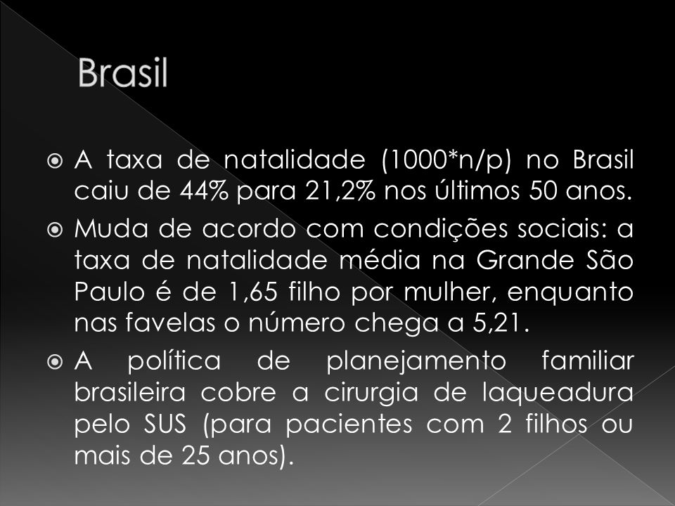 Brasil A taxa de natalidade (1000*n/p) no Brasil caiu de 44% para 21,2% nos últimos 50 anos.