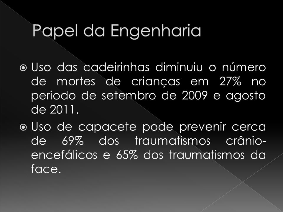 Papel da Engenharia Uso das cadeirinhas diminuiu o número de mortes de crianças em 27% no periodo de setembro de 2009 e agosto de 2011.