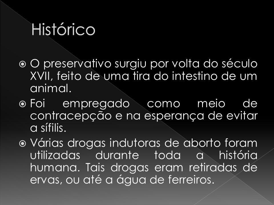 Histórico O preservativo surgiu por volta do século XVII, feito de uma tira do intestino de um animal.