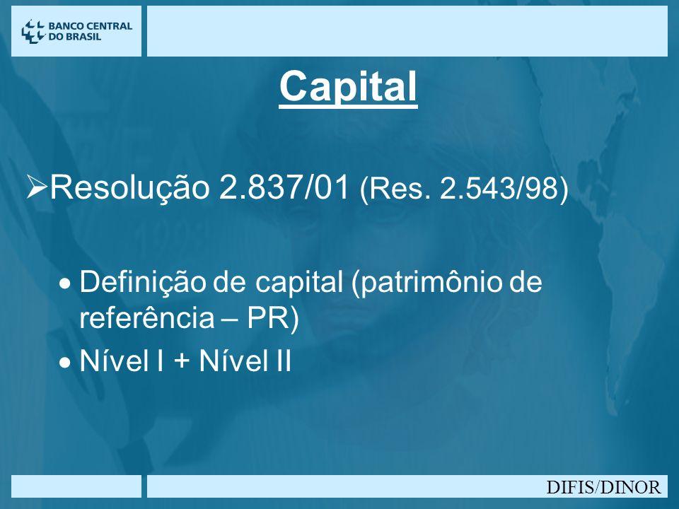 Capital Resolução 2.837/01 (Res. 2.543/98)
