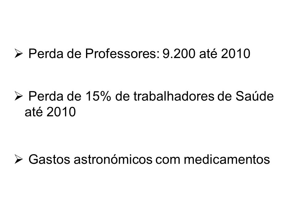 Perda de Professores: 9.200 até 2010