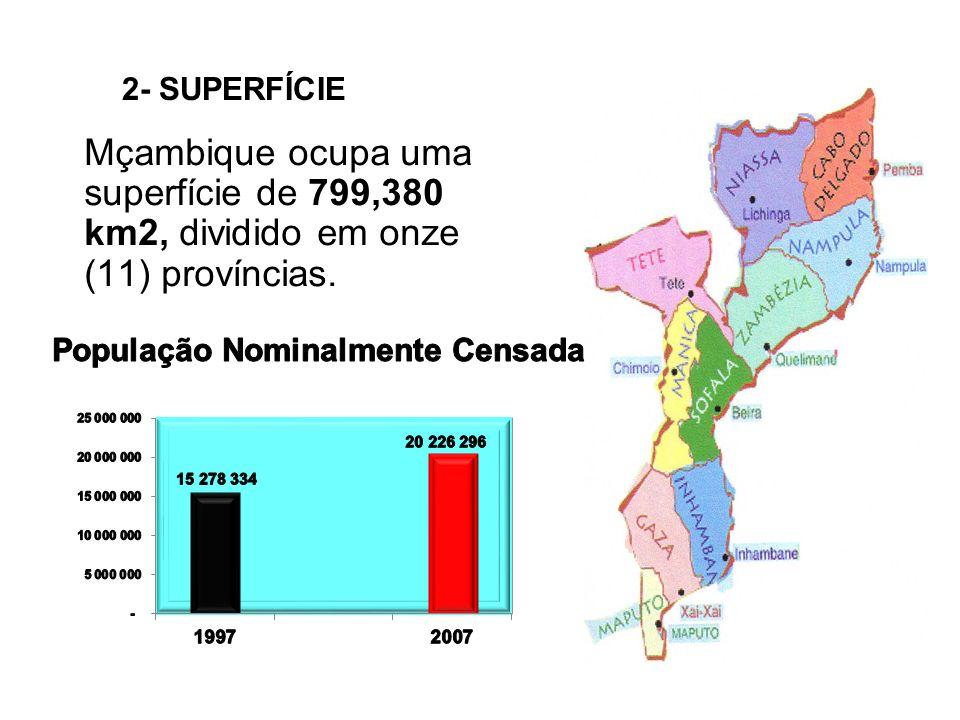 2- SUPERFÍCIE Mçambique ocupa uma superfície de 799,380 km2, dividido em onze (11) províncias.