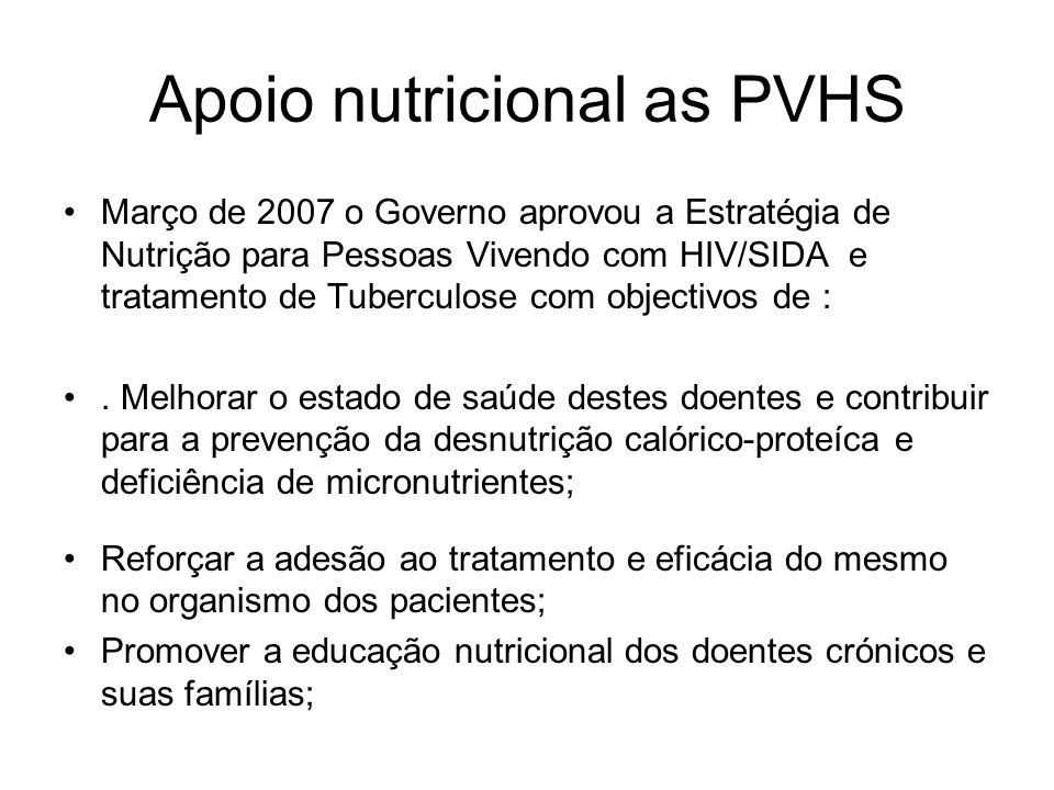 Apoio nutricional as PVHS