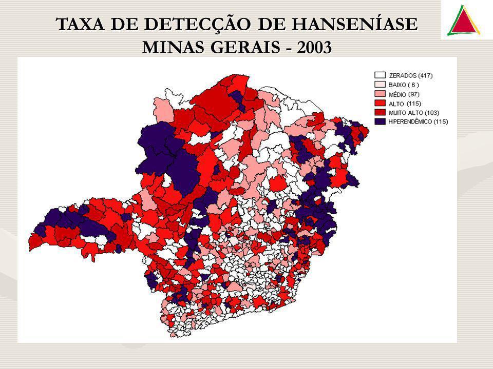 TAXA DE DETECÇÃO DE HANSENÍASE MINAS GERAIS - 2003