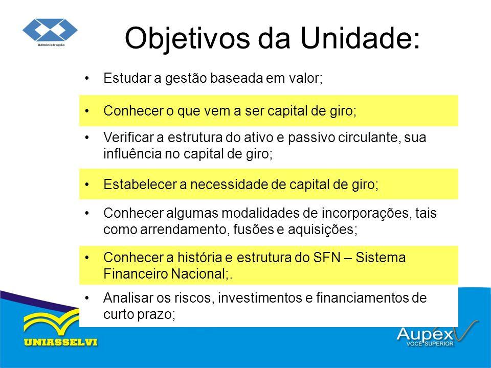 Objetivos da Unidade: Estudar a gestão baseada em valor;