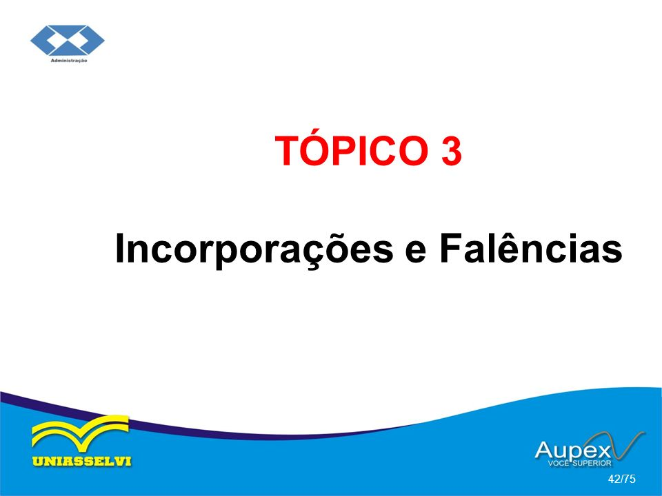 TÓPICO 3 Incorporações e Falências