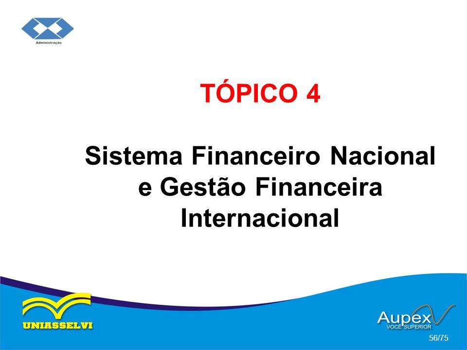 TÓPICO 4 Sistema Financeiro Nacional e Gestão Financeira Internacional