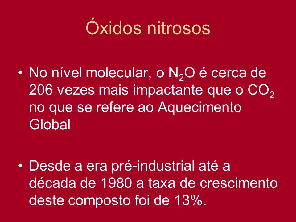 Óxidos nitrosos No nível molecular, o N2O é cerca de 206 vezes mais impactante que o CO2 no que se refere ao Aquecimento Global.