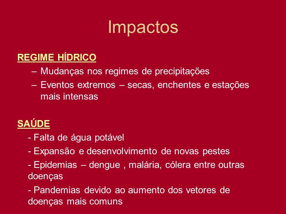 Impactos REGIME HÍDRICO Mudanças nos regimes de precipitações