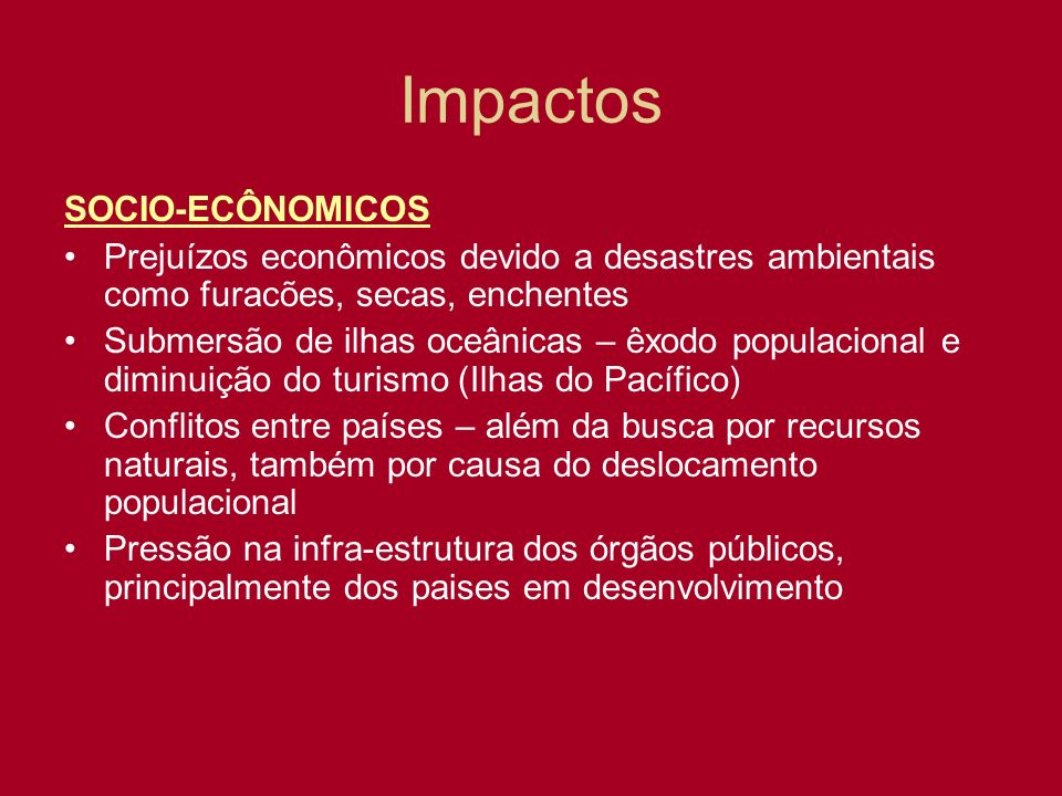 Impactos SOCIO-ECÔNOMICOS