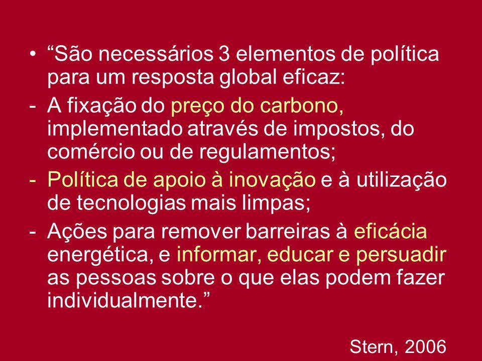 São necessários 3 elementos de política para um resposta global eficaz: