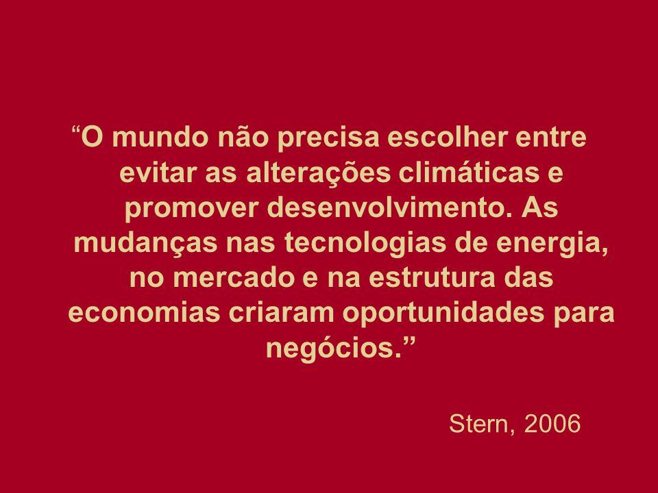 O mundo não precisa escolher entre evitar as alterações climáticas e promover desenvolvimento. As mudanças nas tecnologias de energia, no mercado e na estrutura das economias criaram oportunidades para negócios.