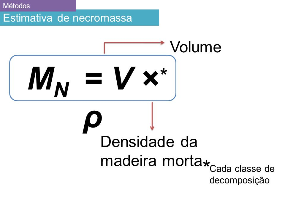 MN = V × ρ * * Volume Densidade da madeira morta