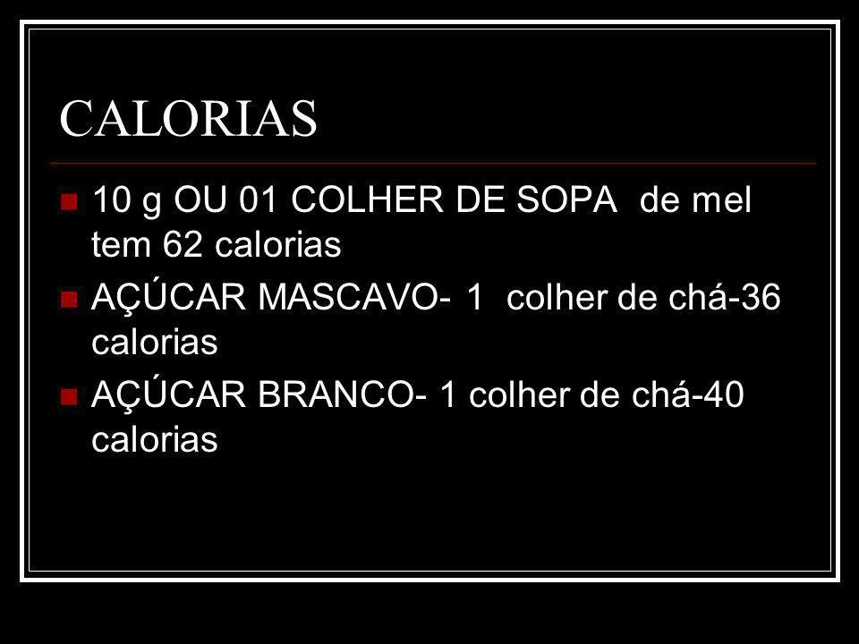 CALORIAS 10 g OU 01 COLHER DE SOPA de mel tem 62 calorias