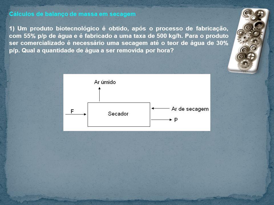 Cálculos de balanço de massa em secagem
