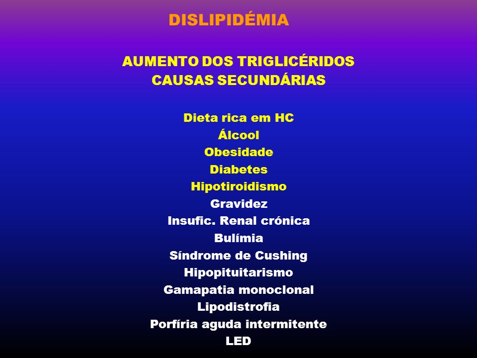 AUMENTO DOS TRIGLICÉRIDOS Porfíria aguda intermitente