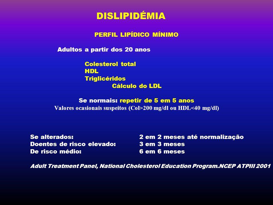 Valores ocasionais suspeitos (Col>200 mg/dl ou HDL<40 mg/dl)
