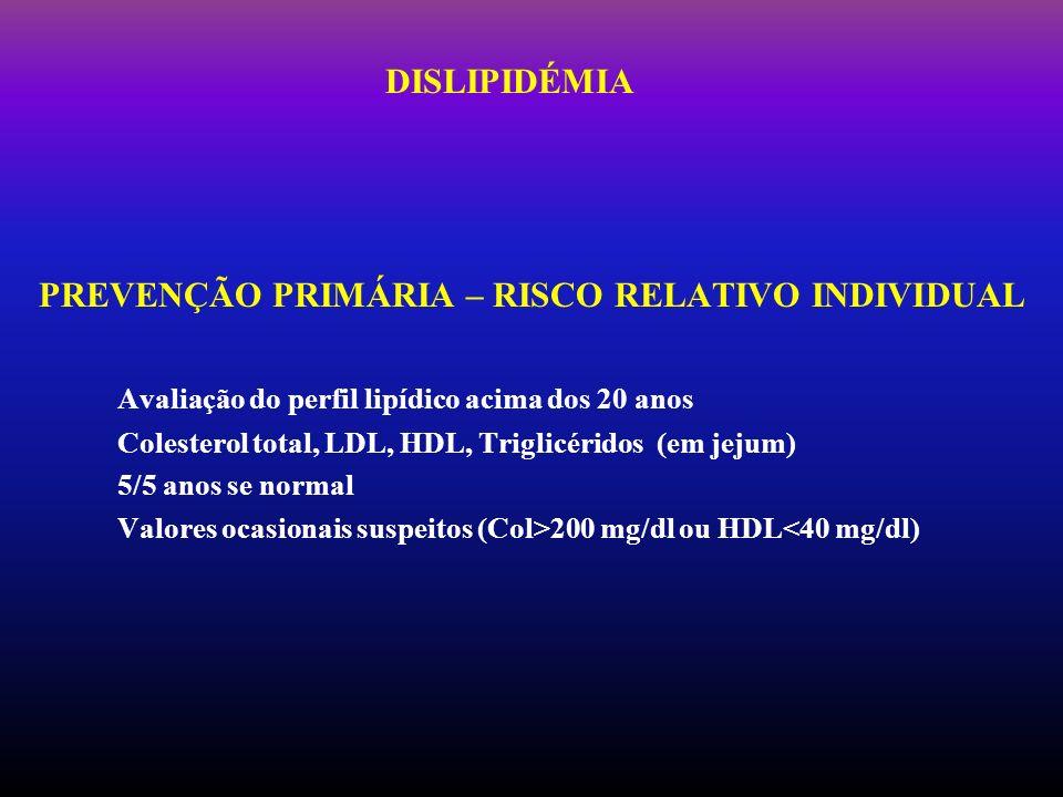 PREVENÇÃO PRIMÁRIA – RISCO RELATIVO INDIVIDUAL