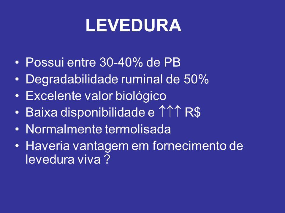 LEVEDURA Possui entre 30-40% de PB Degradabilidade ruminal de 50%