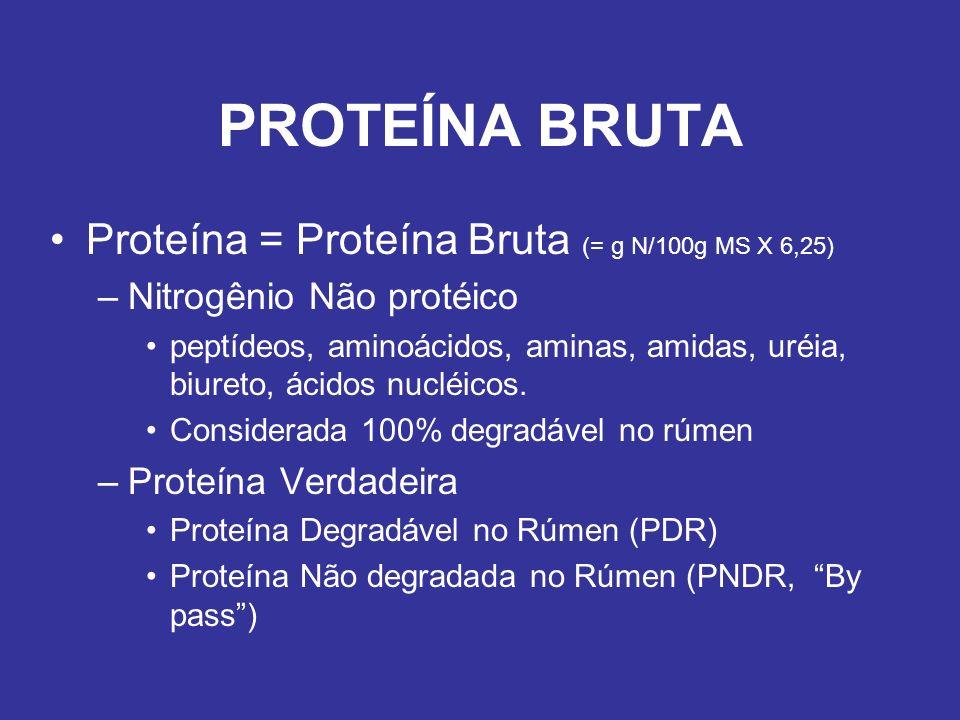 PROTEÍNA BRUTA Proteína = Proteína Bruta (= g N/100g MS X 6,25)