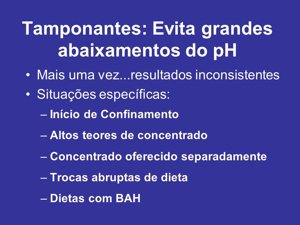 Tamponantes: Evita grandes abaixamentos do pH