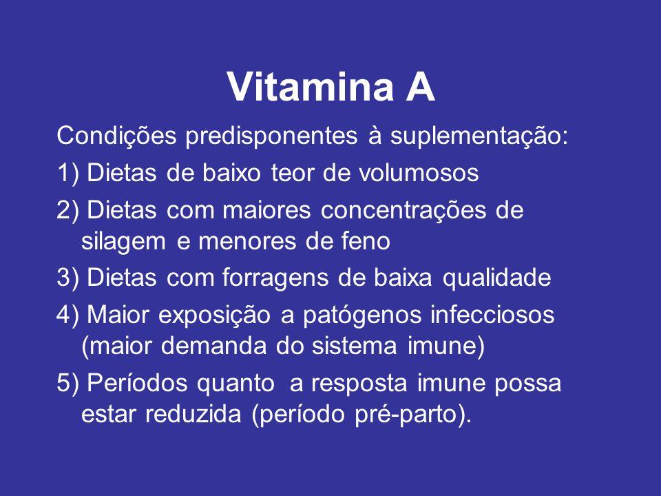 Vitamina A Condições predisponentes à suplementação: