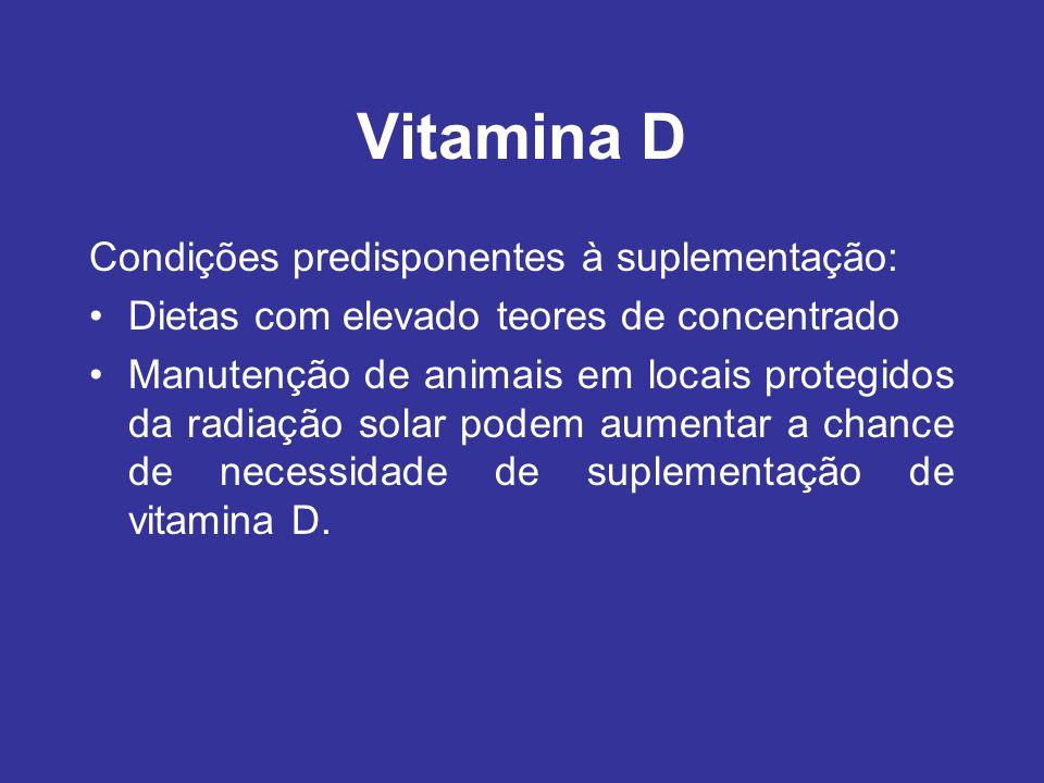 Vitamina D Condições predisponentes à suplementação: