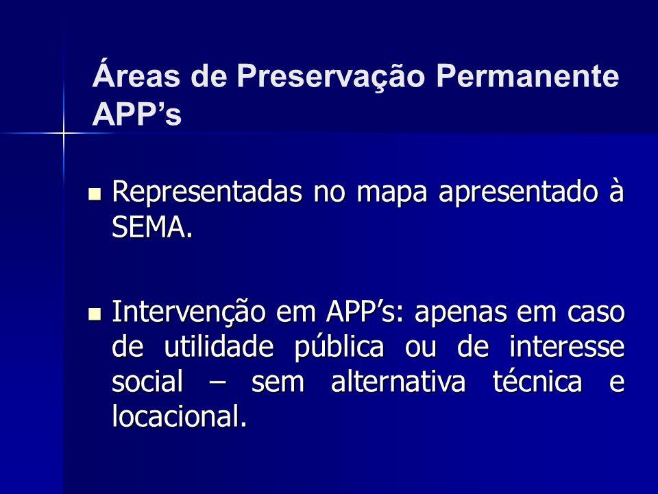 Áreas de Preservação Permanente APP's