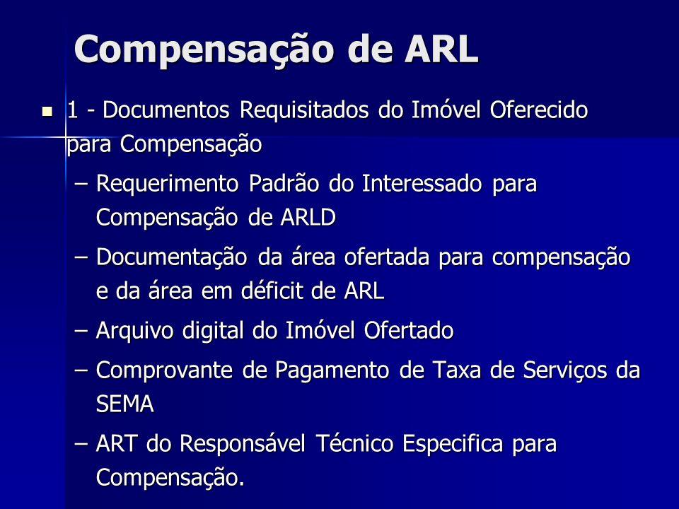 Compensação de ARL 1 - Documentos Requisitados do Imóvel Oferecido para Compensação. Requerimento Padrão do Interessado para Compensação de ARLD.