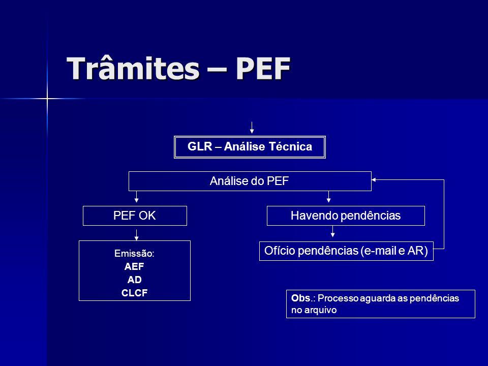Trâmites – PEF GLR – Análise Técnica Análise do PEF PEF OK