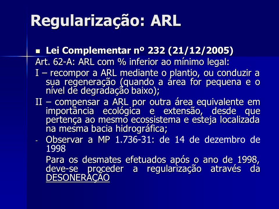 Regularização: ARL Lei Complementar nº 232 (21/12/2005)