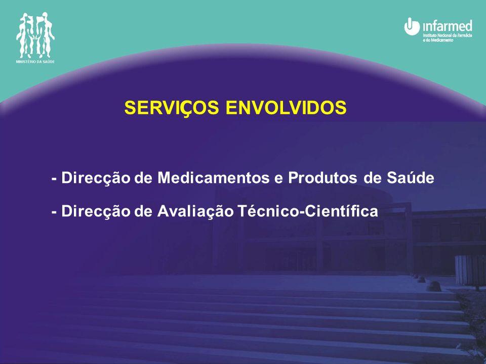 SERVIÇOS ENVOLVIDOS - Direcção de Medicamentos e Produtos de Saúde - Direcção de Avaliação Técnico-Científica.