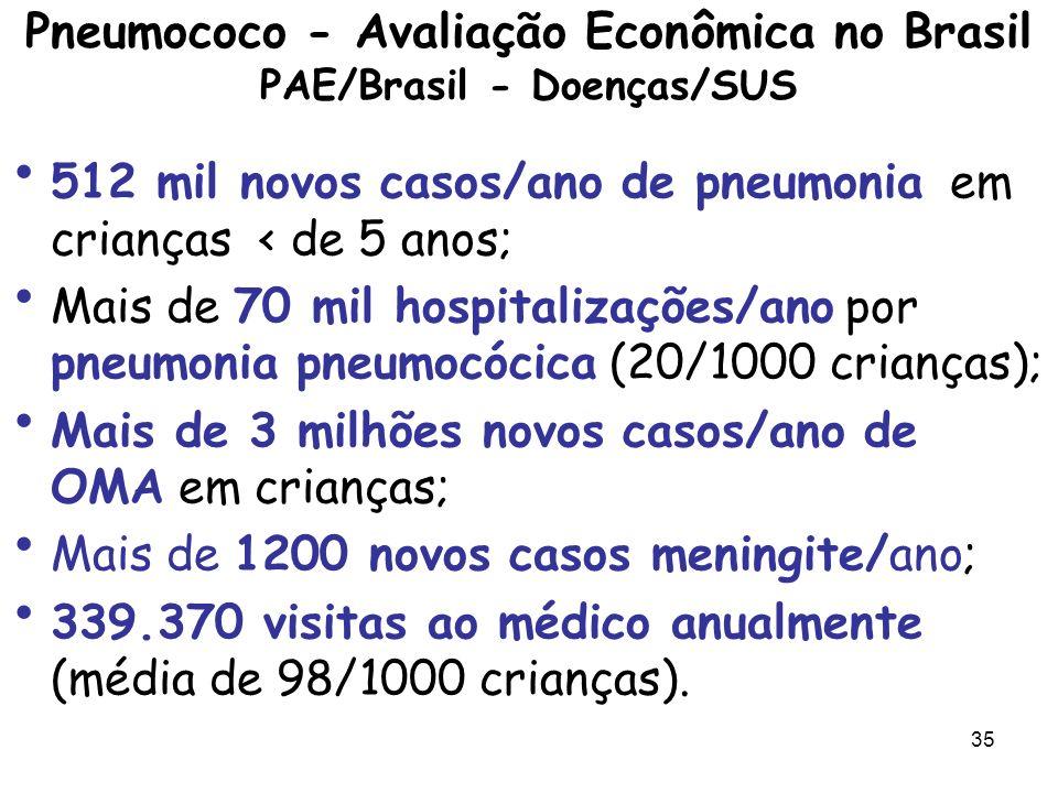 Pneumococo - Avaliação Econômica no Brasil PAE/Brasil - Doenças/SUS