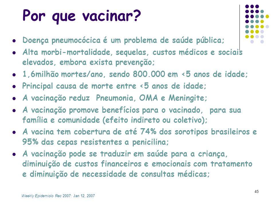 Por que vacinar Doença pneumocócica é um problema de saúde pública;