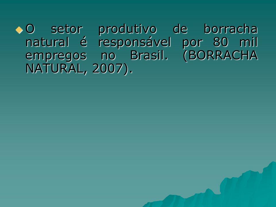 O setor produtivo de borracha natural é responsável por 80 mil empregos no Brasil.
