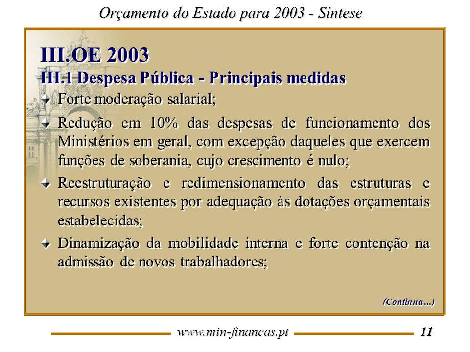 OE 2003 III.1 Despesa Pública - Principais medidas