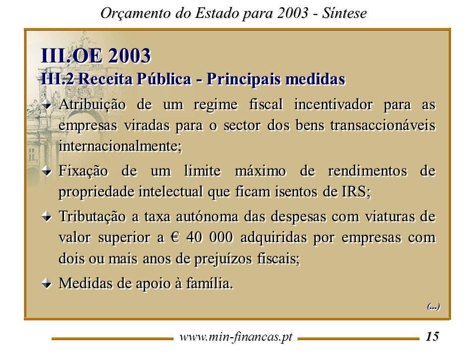 OE 2003 III.2 Receita Pública - Principais medidas