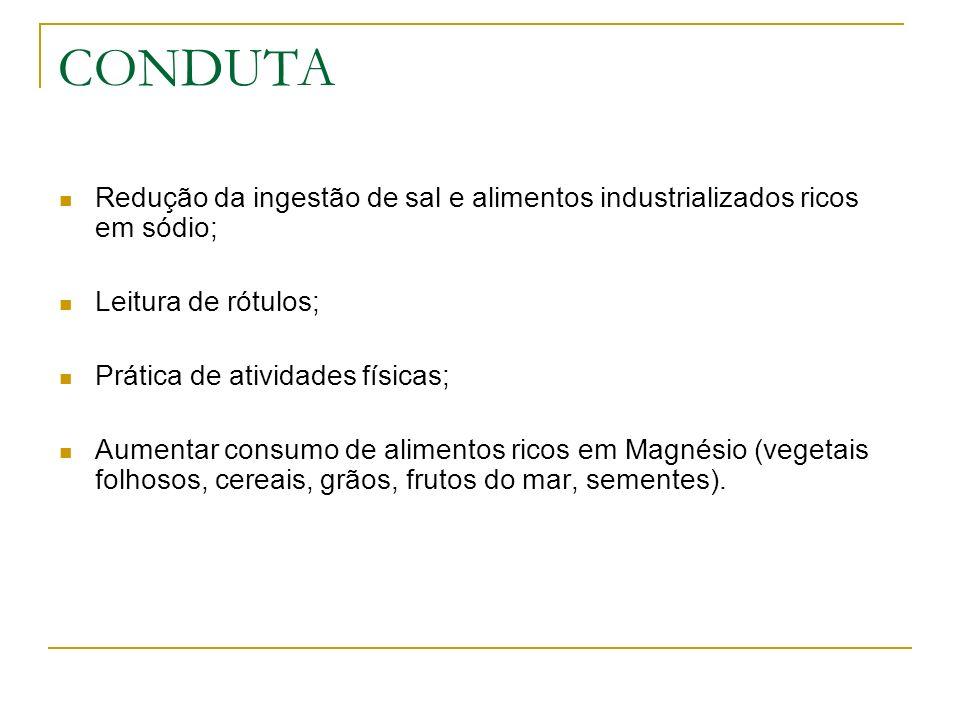CONDUTA Redução da ingestão de sal e alimentos industrializados ricos em sódio; Leitura de rótulos;